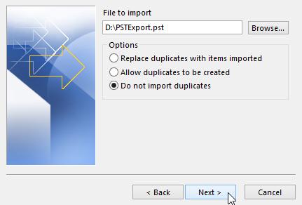 import pst file