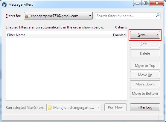 thunderbird message filter