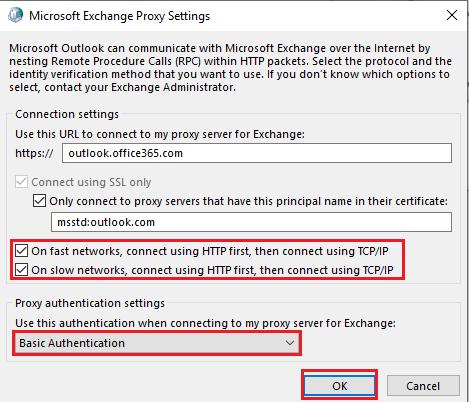 set proxy authentication setting