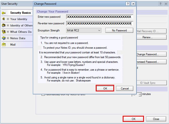 change Lotus Notes Password