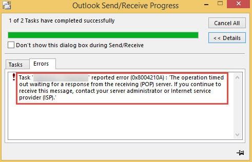 Outlook Error Code 0x8004210A