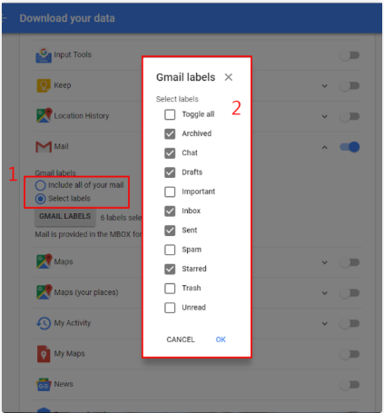Select Gmail Lables