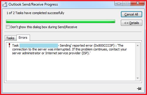 outlook error 0x800ccc0f-1