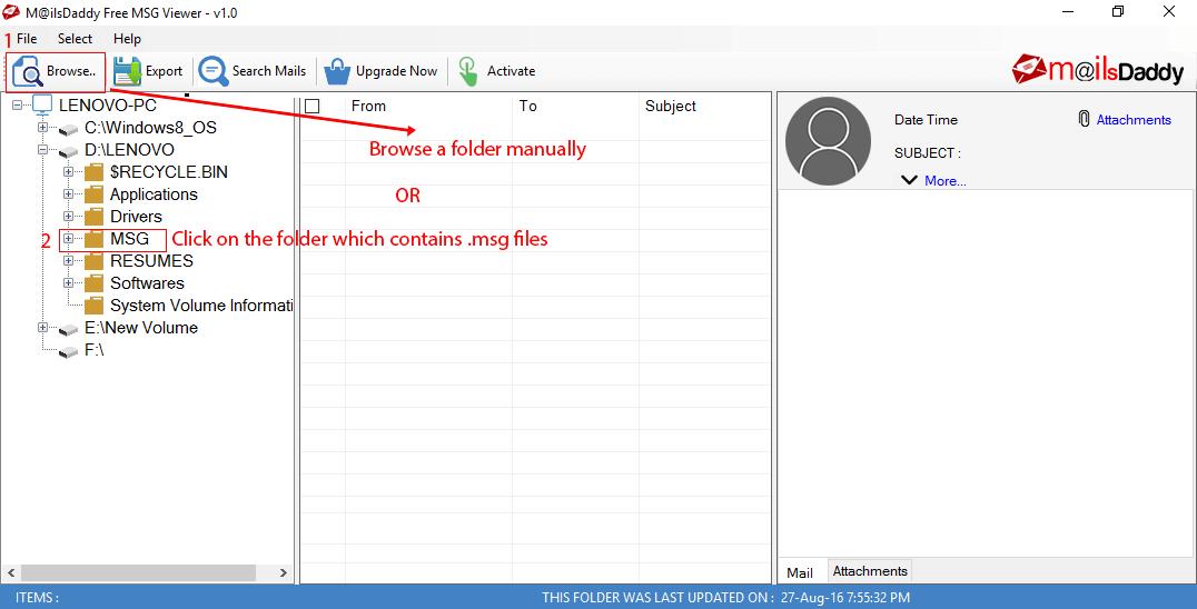 Windows 7 MailsDaddy Free MSG Viewer 2.0 full