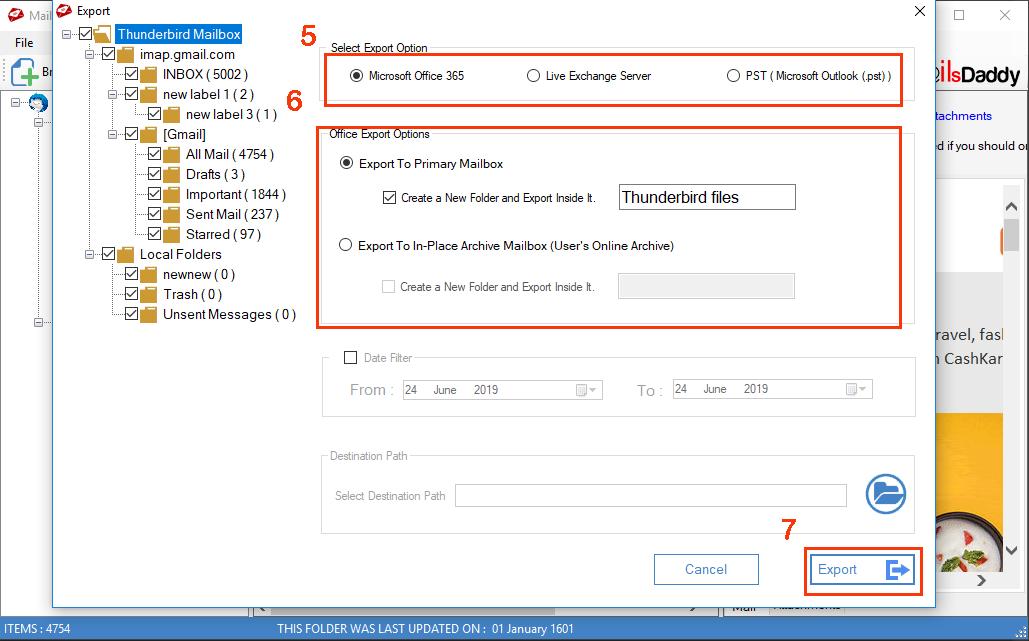 MailsDaddy Thunderbird to Office 365 full screenshot